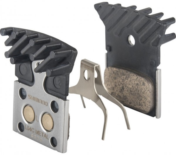 Shimano Disc Brake Pads L04C Metal with Cooling Fins for Flat Mount Brakes
