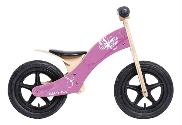 "Lernlaufrad Rebel Kidz 12"" Wood Schmetterling pink"