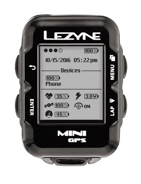 Lezyne Radcomputer Mini GPS mit Herzfrequenzmessgerät schwarz