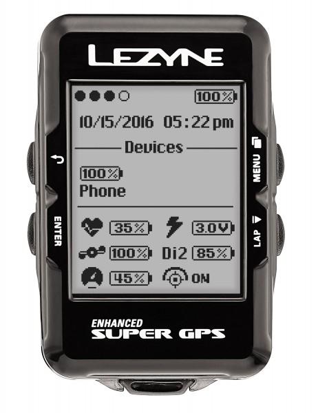 Lezyne Radcomputer Super GPS mit Herzfrequenzmessgerät und Speed Cadence Sensor schwarz