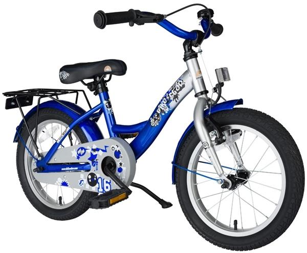 Bikestar Premium Kinderfahrrad Classic 16 Zoll champion silber & abenteuerlich blau