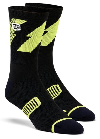 100% Bolt Performance socks lime/black