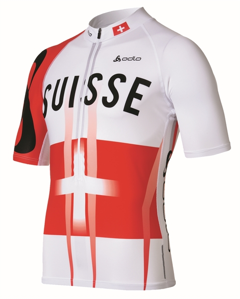 Odlo Stand-up collar s/s 1/2 zip TOURMALET white/Suisse Team