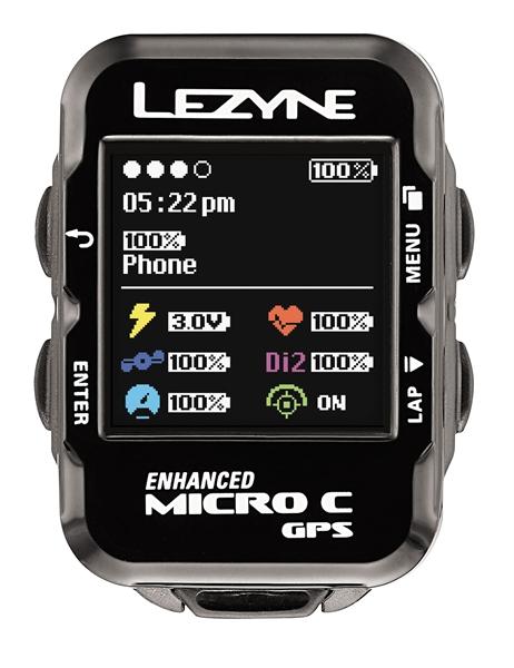 Lezyne Radcomputer Micro Color GPS mit Herzfrequenzmessgerät schwarz