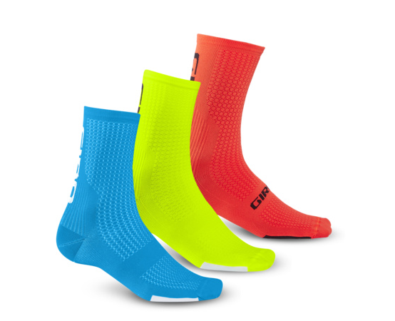 Giro HRC Team 3-PACK Socken blue/high yellow/vermillion