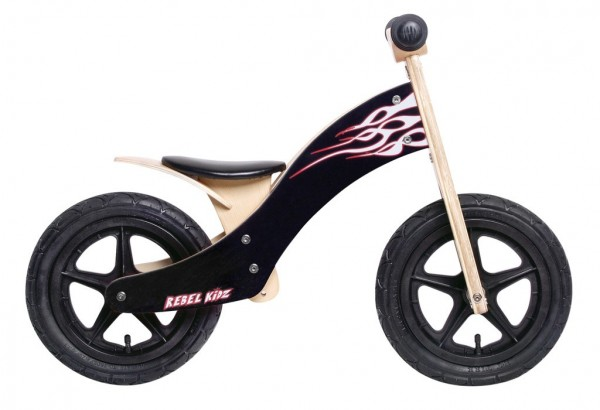 "Rebel Kidz Bike 12"" Wood black / Flames"