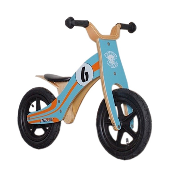 "Lernlaufrad Rebel Kidz 12"" Wood blau/orange - Le Mans"