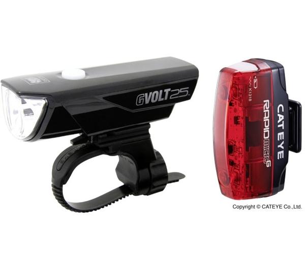 Cateye Beleuchtungsset GVolt 25 + Rapid Micro G mit StVZO-Zulassung