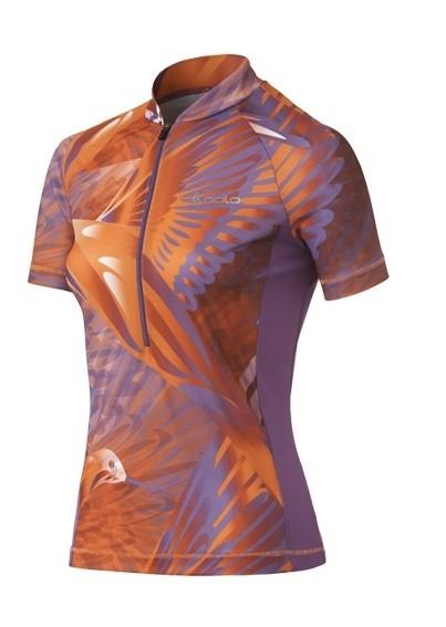 Odlo Women Stand-up collar s/s 1/2 zip SKY violet - fluor orange - white