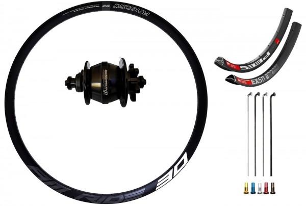 "Fun Works Generator 3Way Hub Dynamo Disc IS Custom Front Wheel MTB 27,5"""
