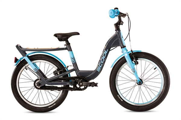 S´COOL niXe 18 Evo Aluminium 1-Gang free wheel grey/cyan matt