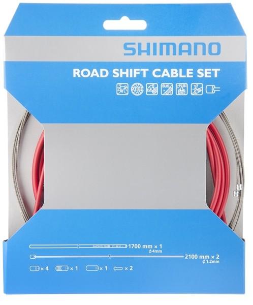 Shimano Rennrad Schaltzugset Road Optislick rot