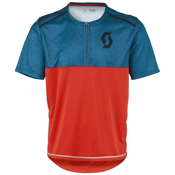 Scott Shirt Trail Flow Mel Q-Zip S/SL seaport blue/fiery red