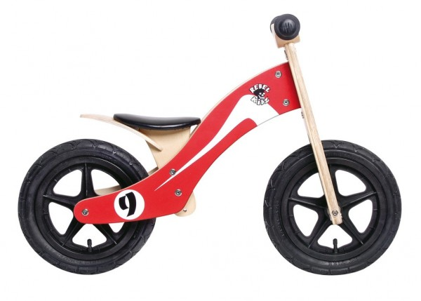 "Lernlaufrad Rebel Kidz 12"" Wood Retro Racer rot/weiß"