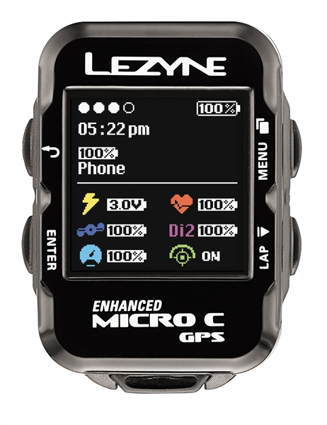 Lezyne bike computer micro color GPS with heart rate monitor and speed cadence sensor black