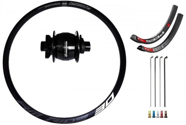 "Fun Works Generator Boost Hub Dynamo Disc IS Custom Front Wheel MTB 27,5"""