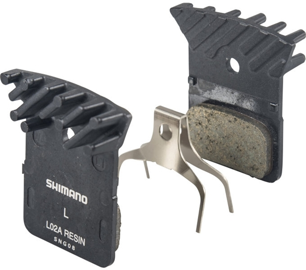 Shimano Disc Brake Pads L02A Resin with Cooling Fins for Flat Mount Brakes
