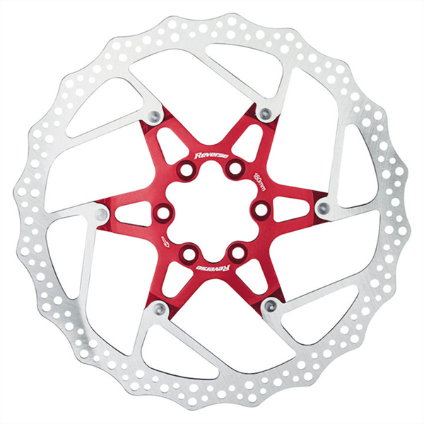 Reverse Disc Brake Rotor 6-Bold 180mm Red