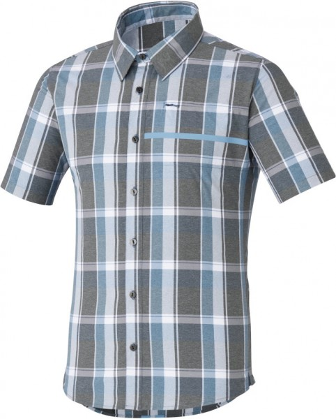 Shimano Transit SS Check Up Button Up Shirt aegean blue %