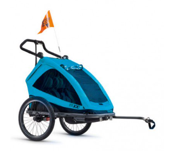 S´COOL Kinderanhänger taXXi Elite for two 3 in 1 cyan blue