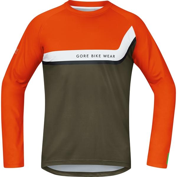 Gore Bike Wear Power Trail Jersey long blaze orange ivy green  d47f22cb5