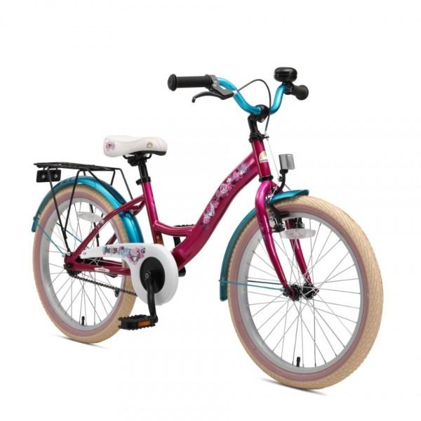 Bikestar Premium Kinderfahrrad Classic 20 Zoll bezaubernd berry & karibisch türkis
