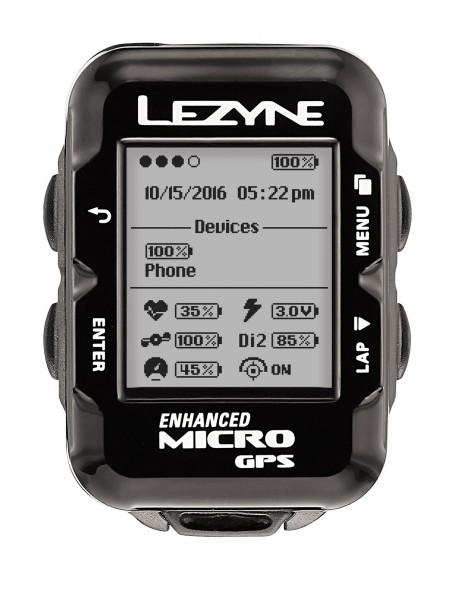 Lezyne Radcomputer Micro GPS mit Herzfrequenzmessgerät schwarz