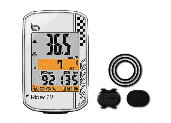Bryton Rider 10 C GPS Bike Computer with Cadence Sensor White