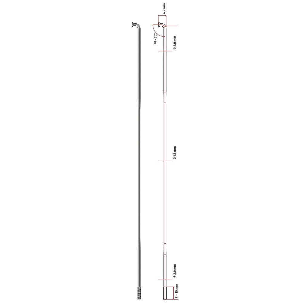 4 Speichen 194 mm DT-Swiss Competition 2,0 x 1,8 x 2,0 mm schwarz oder silber