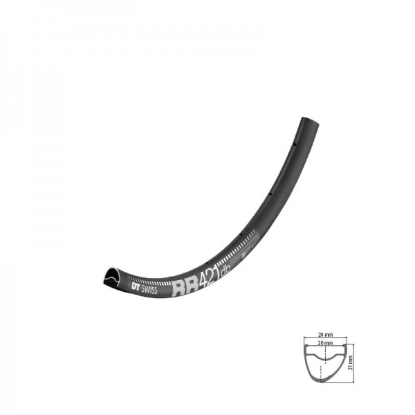 DT Swiss RR 421 DB Rim 700c black (only possible with DT Squorx Nipples)