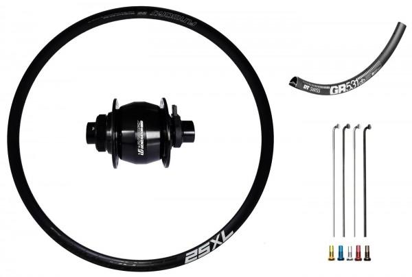 "Fun Works Generator 3Way Hub Dynamo Disc CL Custom Front Wheel Road/Gravelbike 27,5"""