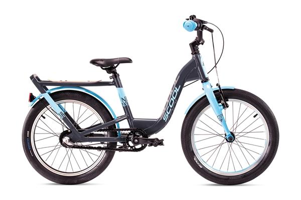 S´COOL niXe 18 Evo Aluminium 3-Gang coaster brake grey/cyan matt