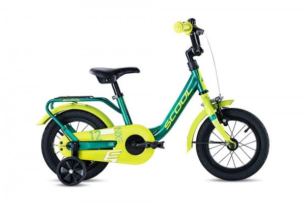 S´COOL niXe 12 steel 1-speed green/lemon