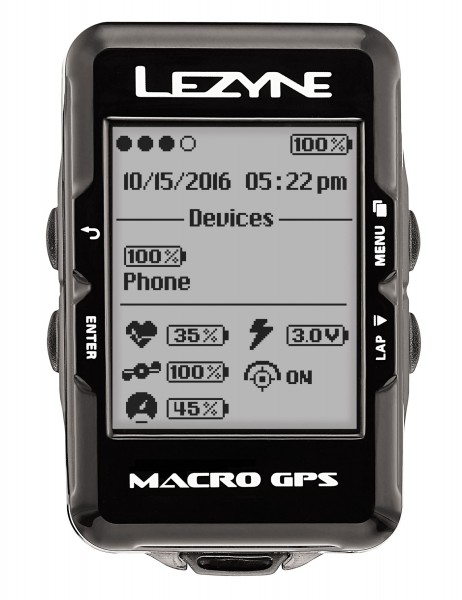 Lezyne Radcomputer Macro GPS mit Herzfrequenzmessgerät schwarz