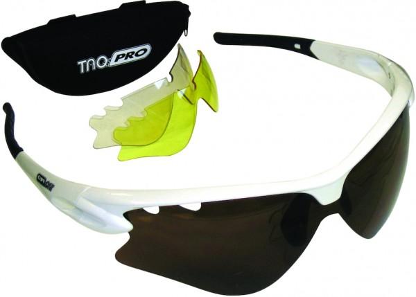TAQ-PRO Sportbrille weiß mit Wechselgläsern