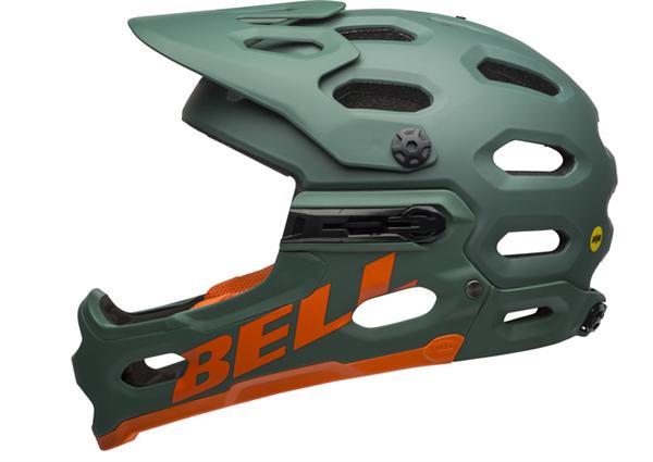 Bell Super 3R Mips Helm matte dark green/orange